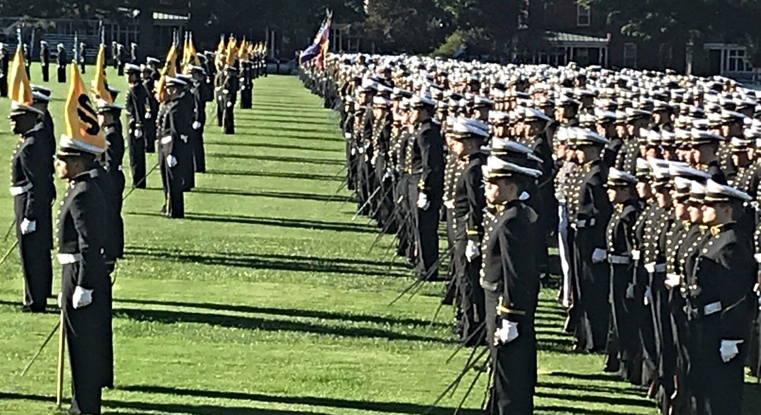 Naval Academy cadets standing at attention in a green field