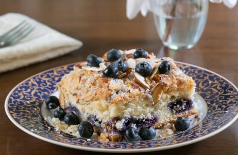 cake with blueberries and topping