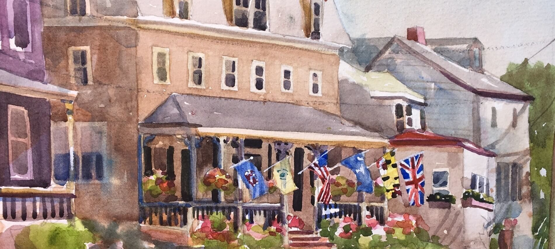water color painting of Flag House Inn