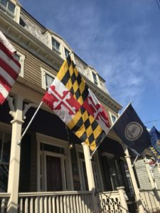 picture of flag house inn with flags