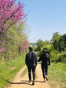 couple hiking on trail