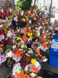 display of cut flowers for sale