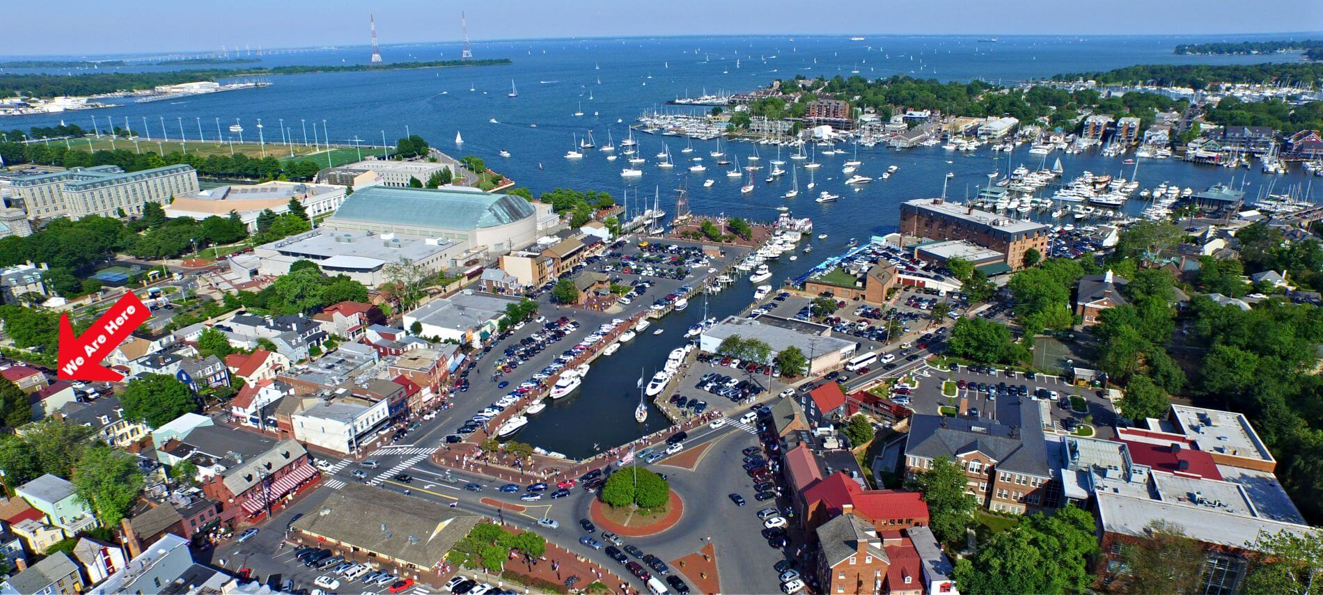 Aerial view of Annapolis with harbor and town