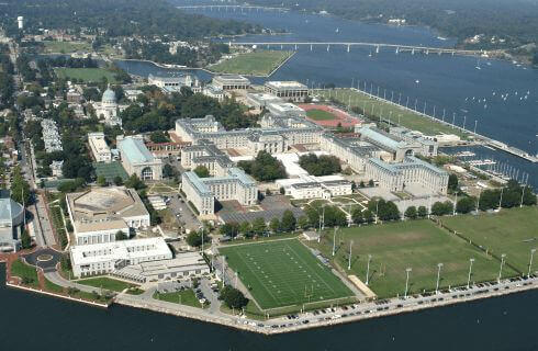Ariel view of the United States Naval Academy complex