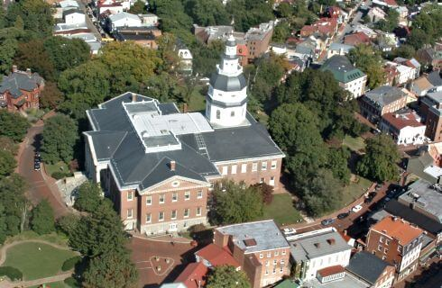 Aeriel view of the Maryland State House